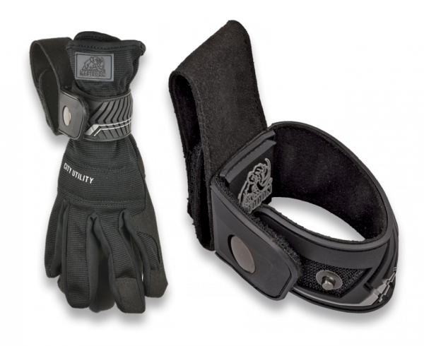 """Handschuhhalter für den Gürtel, """"Gummiert mit Druckknopf"""" - für robuste Handschuhe"""