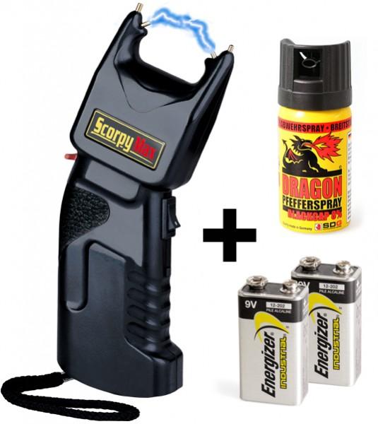 Elektroschocker 500.000 Volt + integriertes Pfefferspray inkl. Batterien & Spray