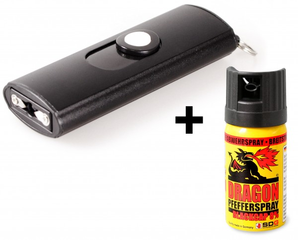 Mini stun gun 100.000 Volt with LED-Lamp incl. Li-Ion battery and Pepperspray