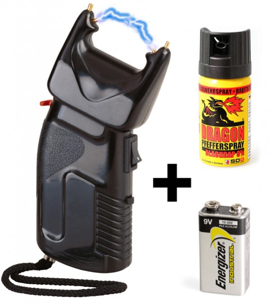 Stun gun 200.000 volt with built-in pepperspray incl. battery & extra spray