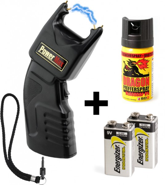 Stun gun 500.000 volt with safety plug incl. batteries & pepperspray