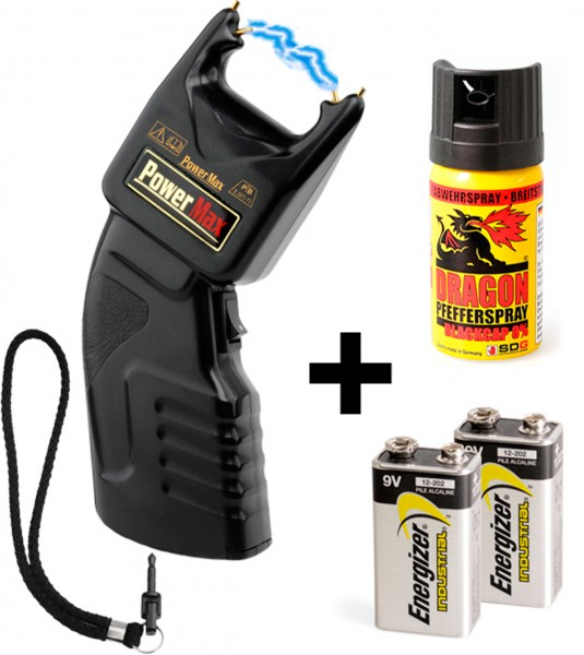 PTB Stun gun 500.000 volt incl. batteries and extra pepperspray