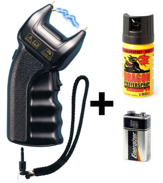PTB Stun gun 200.000 volt incl. battery and extra pepperspray