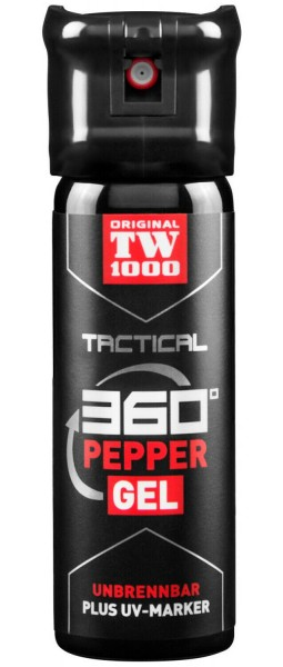 "Spray au poivre Gel ""TW1000 Tactical"", 360°, y compris UV marker - 47 ml"