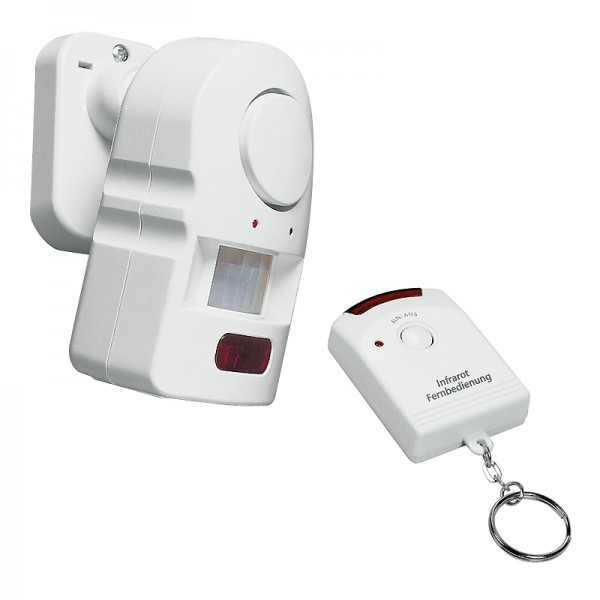 Wireless motion detector incl. remote control and mains adapter
