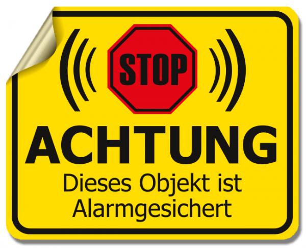 """Warnaufkleber """"ACHTUNG - Dieses Objekt ist Alarmgesichert"""" - 4 Stück"""