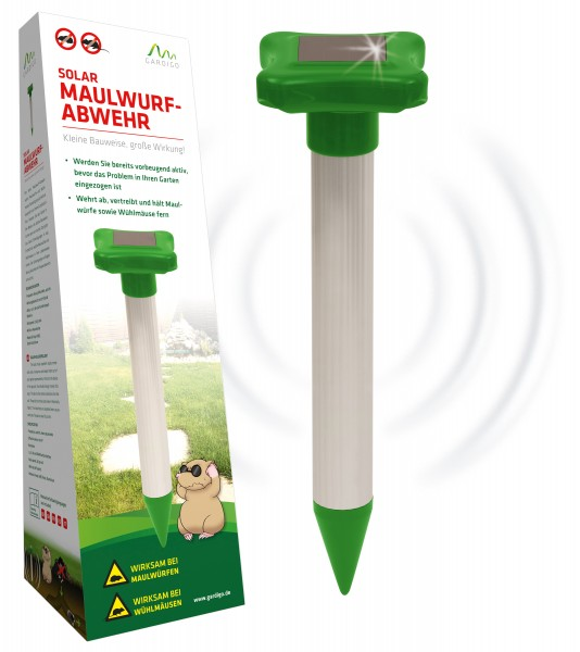 Sonic mole chaser repellent with rechargeable batteries and solar